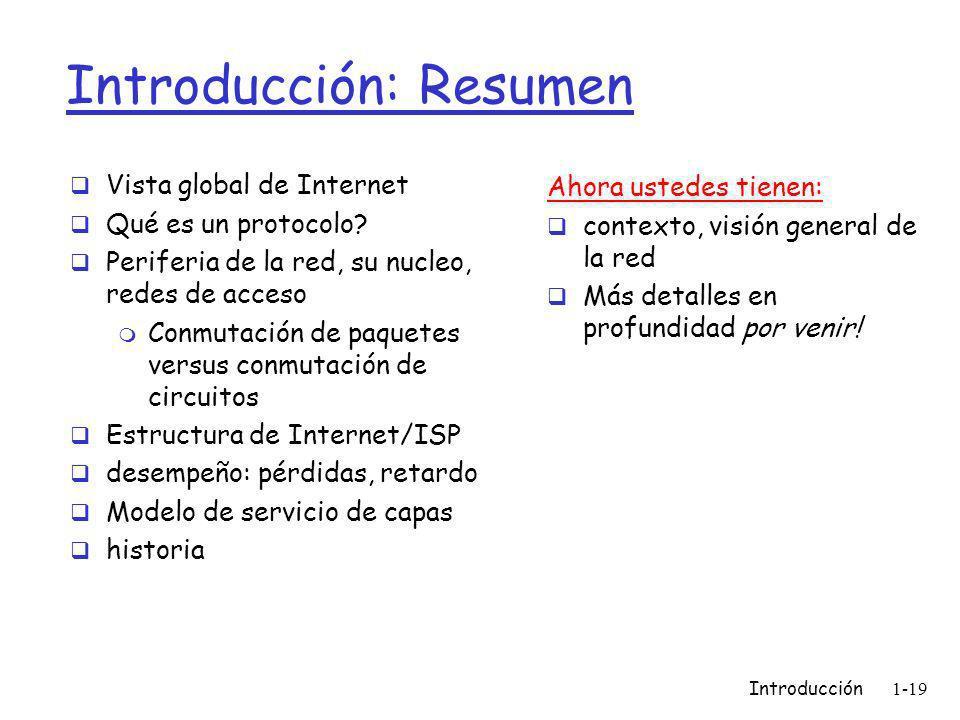 Introducción1-19 Introducción: Resumen Vista global de Internet Qué es un protocolo.