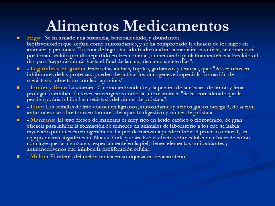 Alimentos Medicamentos Higo: Se ha aislado una sustancia, benzoaldehído, y abundantes bioflavonoides que actúan como antioxidantes, y se ha comprobado