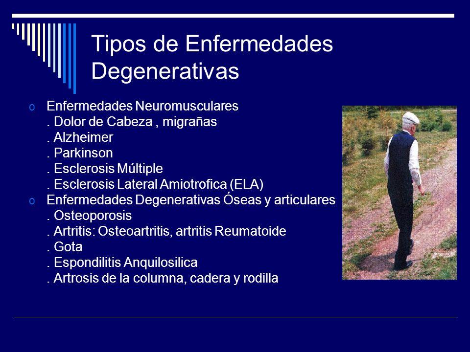 Tipos de Enfermedades Degenerativas o Enfermedades Neuromusculares. Dolor de Cabeza, migrañas. Alzheimer. Parkinson. Esclerosis Múltiple. Esclerosis L