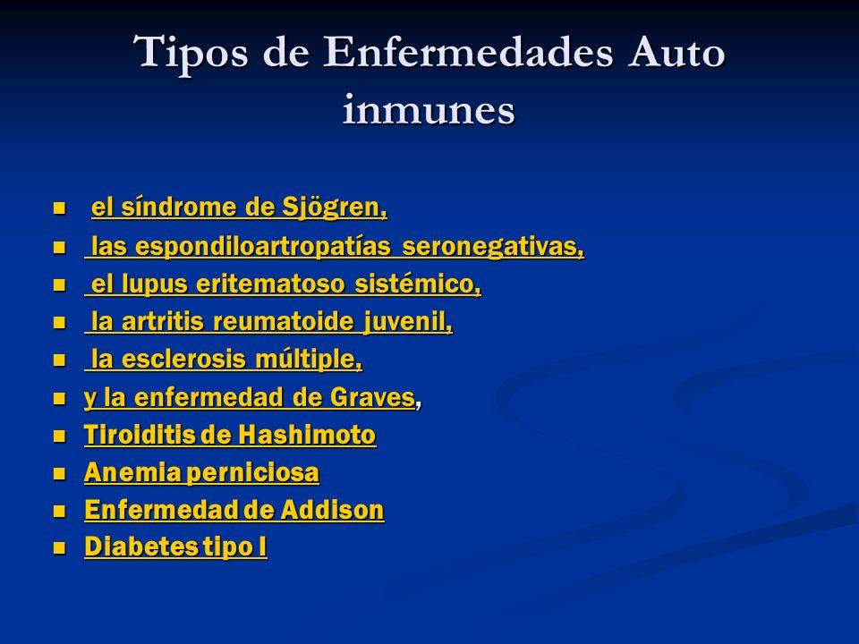 Tipos de Enfermedades Auto inmunes el síndrome de Sjögren, el síndrome de Sjögren, las espondiloartropatías seronegativas, las espondiloartropatías se