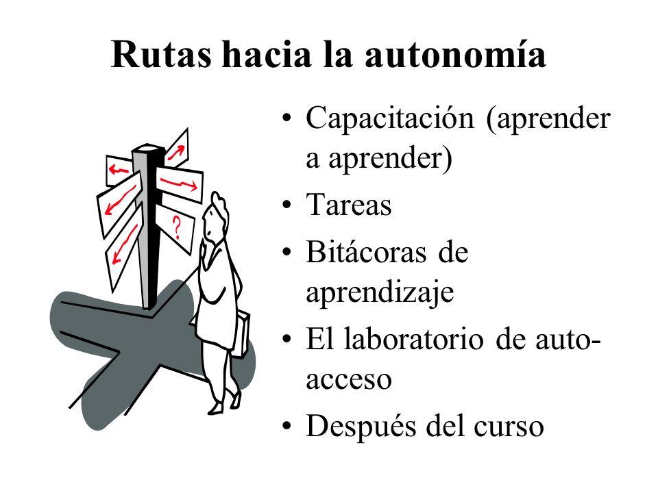 Rutas hacia la autonomía Capacitación (aprender a aprender) Tareas Bitácoras de aprendizaje El laboratorio de auto- acceso Después del curso