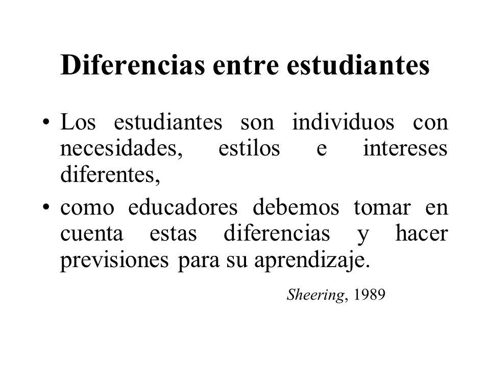 Diferencias entre estudiantes Los estudiantes son individuos con necesidades, estilos e intereses diferentes, como educadores debemos tomar en cuenta estas diferencias y hacer previsiones para su aprendizaje.