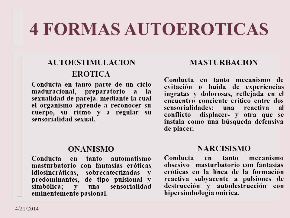 4/21/2014 4 FORMAS AUTOEROTICAS AUTOESTIMULACION EROTICA Conducta en tanto parte de un ciclo maduracional, preparatorio a la sexualidad de pareja. med