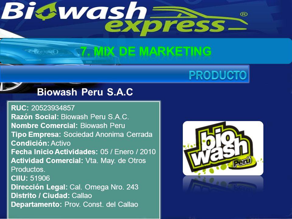 RUC: 20523934857 Razón Social: Biowash Peru S.A.C. Nombre Comercial: Biowash Peru Tipo Empresa: Sociedad Anonima Cerrada Condición: Activo Fecha Inici