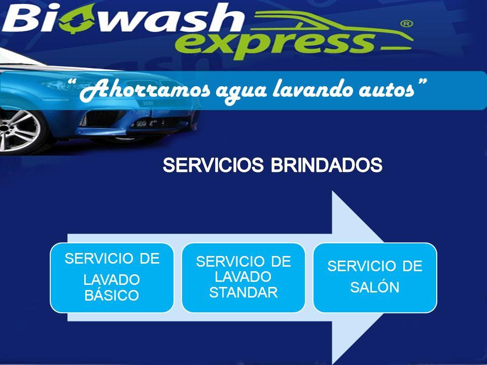 Ahorramos agua lavando autos SERVICIO DE LAVADO BÁSICO SERVICIO DE LAVADO STANDAR SERVICIO DE SALÓN
