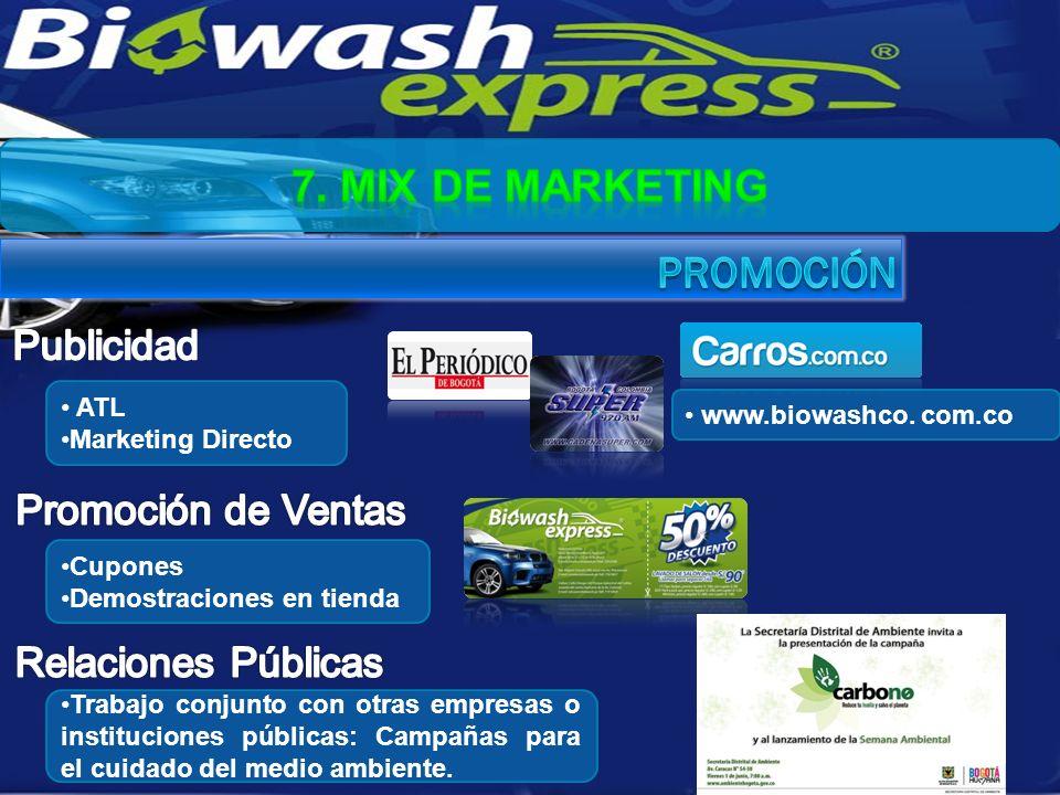 ATL Marketing Directo Trabajo conjunto con otras empresas o instituciones públicas: Campañas para el cuidado del medio ambiente. Cupones Demostracione