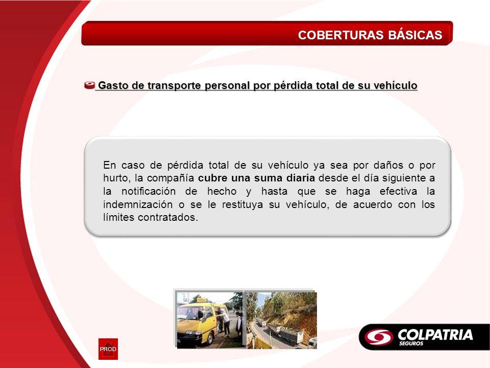 En caso de pérdida total de su vehículo ya sea por daños o por hurto, la compañía cubre una suma diaria desde el día siguiente a la notificación de he