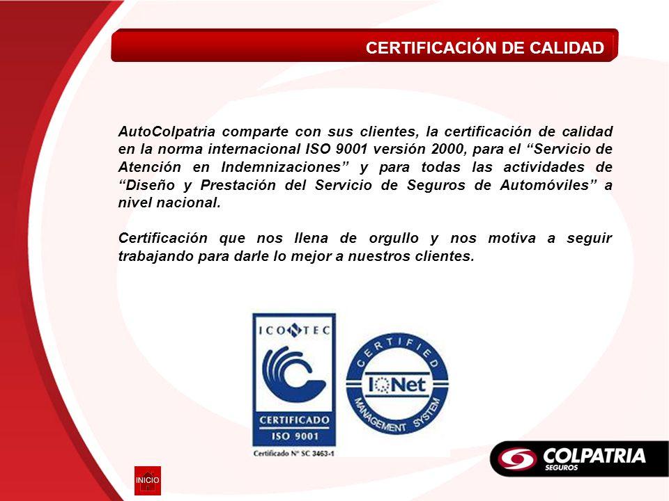 AutoColpatria comparte con sus clientes, la certificación de calidad en la norma internacional ISO 9001 versión 2000, para el Servicio de Atención en