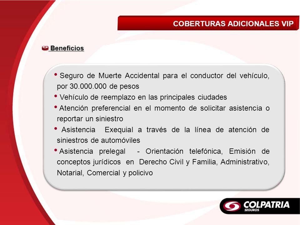Beneficios Beneficios Seguro de Muerte Accidental para el conductor del vehículo, por 30.000.000 de pesos Vehículo de reemplazo en las principales ciu