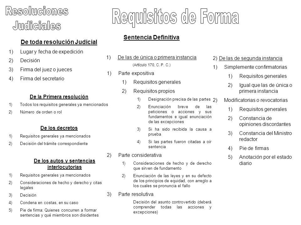 De toda resolución Judicial 1)Lugar y fecha de expedición 2)Decisión 3)Firma del juez o jueces 4)Firma del secretario De la Primera resolución 1)Todos
