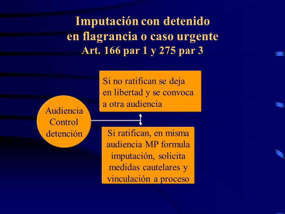 Imputación con detenido en flagrancia o caso urgente Art. 166 par 1 y 275 par 3 Audiencia Control detención Si no ratifican se deja en libertad y se c