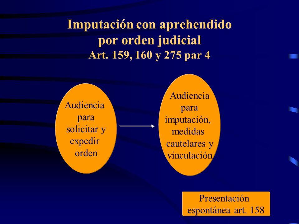 Imputación con aprehendido por orden judicial Art. 159, 160 y 275 par 4 Audiencia para solicitar y expedir orden Audiencia para imputación, medidas ca