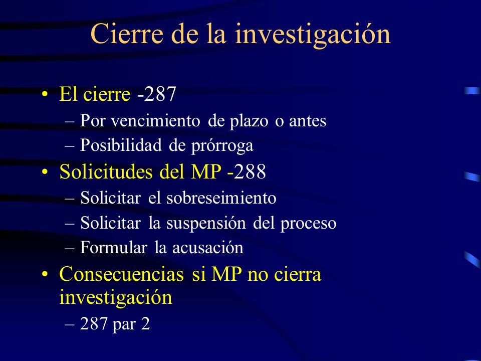 Cierre de la investigación El cierre -287 –Por vencimiento de plazo o antes –Posibilidad de prórroga Solicitudes del MP -288 –Solicitar el sobreseimie