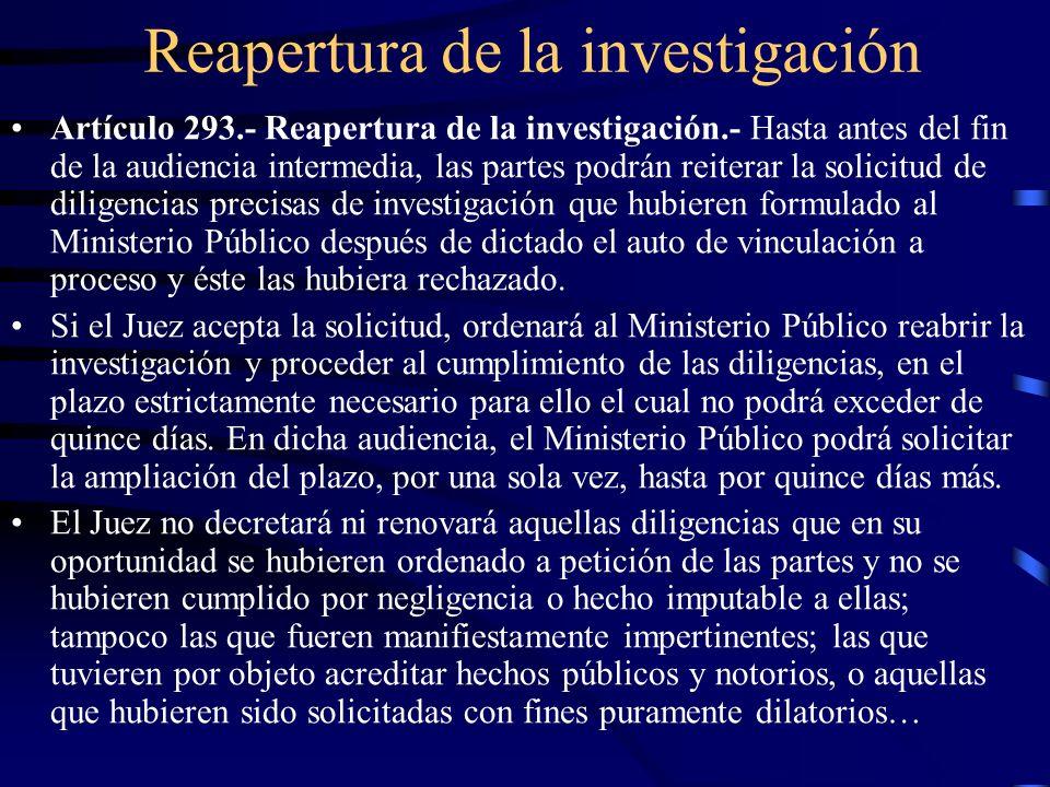 Reapertura de la investigación Artículo 293.- Reapertura de la investigación.- Hasta antes del fin de la audiencia intermedia, las partes podrán reite