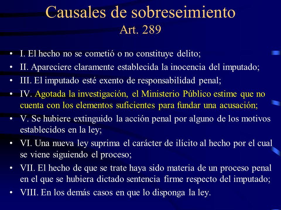 Causales de sobreseimiento Art. 289 I. El hecho no se cometió o no constituye delito; II. Apareciere claramente establecida la inocencia del imputado;