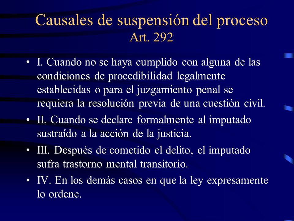 Causales de suspensión del proceso Art. 292 I. Cuando no se haya cumplido con alguna de las condiciones de procedibilidad legalmente establecidas o pa