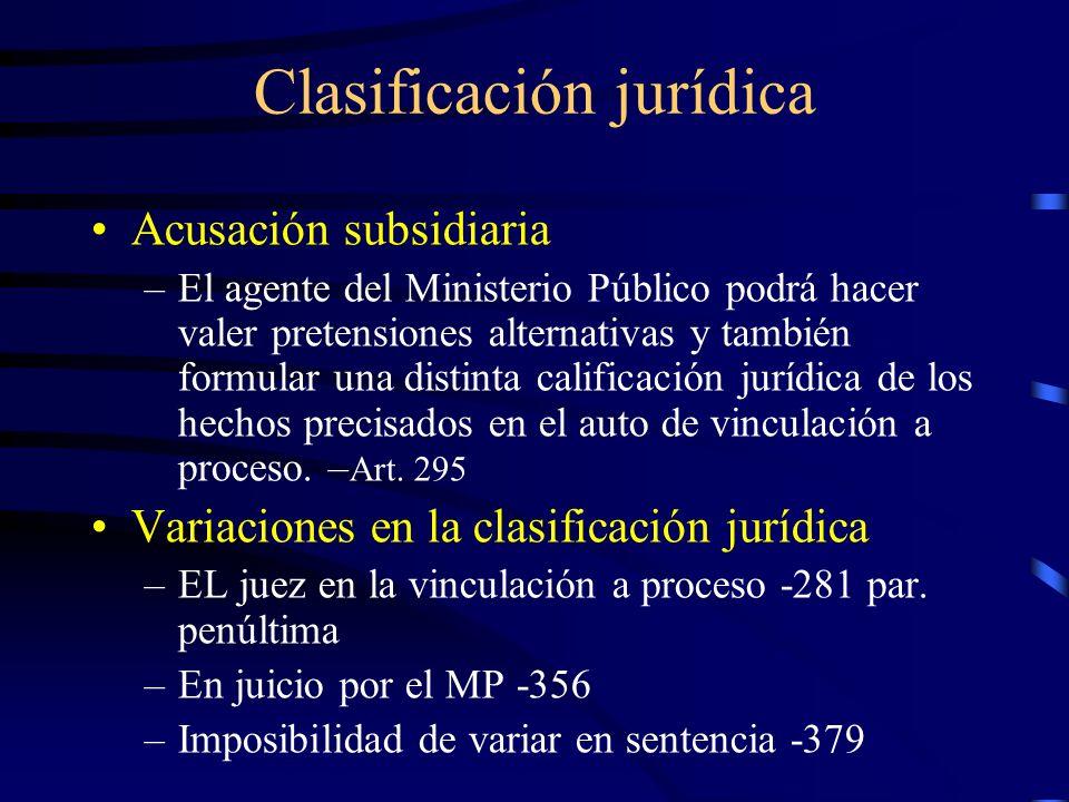 Clasificación jurídica Acusación subsidiaria –El agente del Ministerio Público podrá hacer valer pretensiones alternativas y también formular una dist
