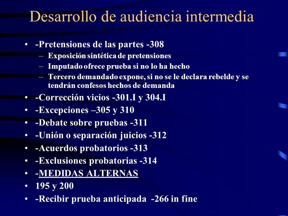 Desarrollo de audiencia intermedia -Pretensiones de las partes -308 –Exposición sintética de pretensiones –Imputado ofrece prueba si no lo ha hecho –T