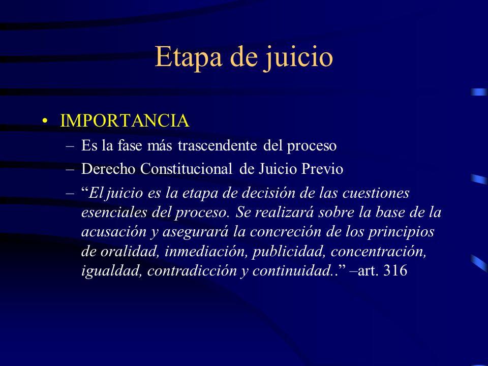 Etapa de juicio IMPORTANCIA –Es la fase más trascendente del proceso –Derecho Constitucional de Juicio Previo –El juicio es la etapa de decisión de la