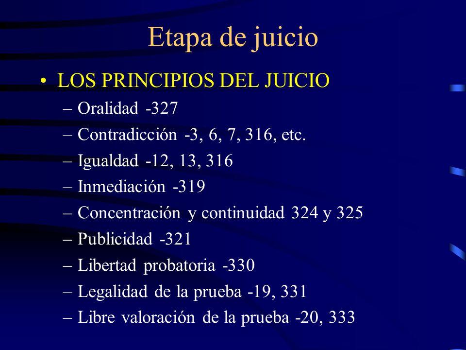 Etapa de juicio LOS PRINCIPIOS DEL JUICIO –Oralidad -327 –Contradicción -3, 6, 7, 316, etc. –Igualdad -12, 13, 316 –Inmediación -319 –Concentración y