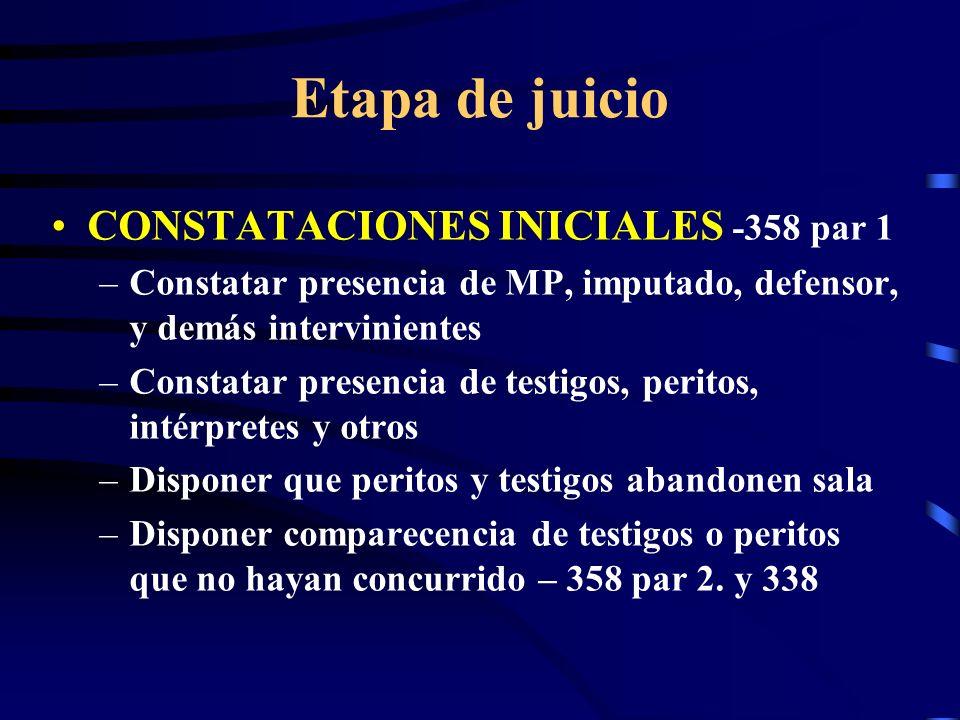 Etapa de juicio CONSTATACIONES INICIALES -358 par 1 –Constatar presencia de MP, imputado, defensor, y demás intervinientes –Constatar presencia de tes