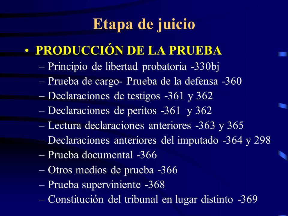 Etapa de juicio PRODUCCIÓN DE LA PRUEBA –Principio de libertad probatoria -330bj –Prueba de cargo- Prueba de la defensa -360 –Declaraciones de testigo
