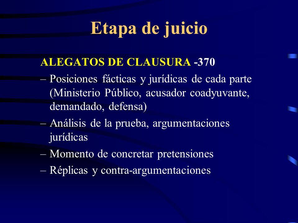 Etapa de juicio ALEGATOS DE CLAUSURA -370 –Posiciones fácticas y jurídicas de cada parte (Ministerio Público, acusador coadyuvante, demandado, defensa