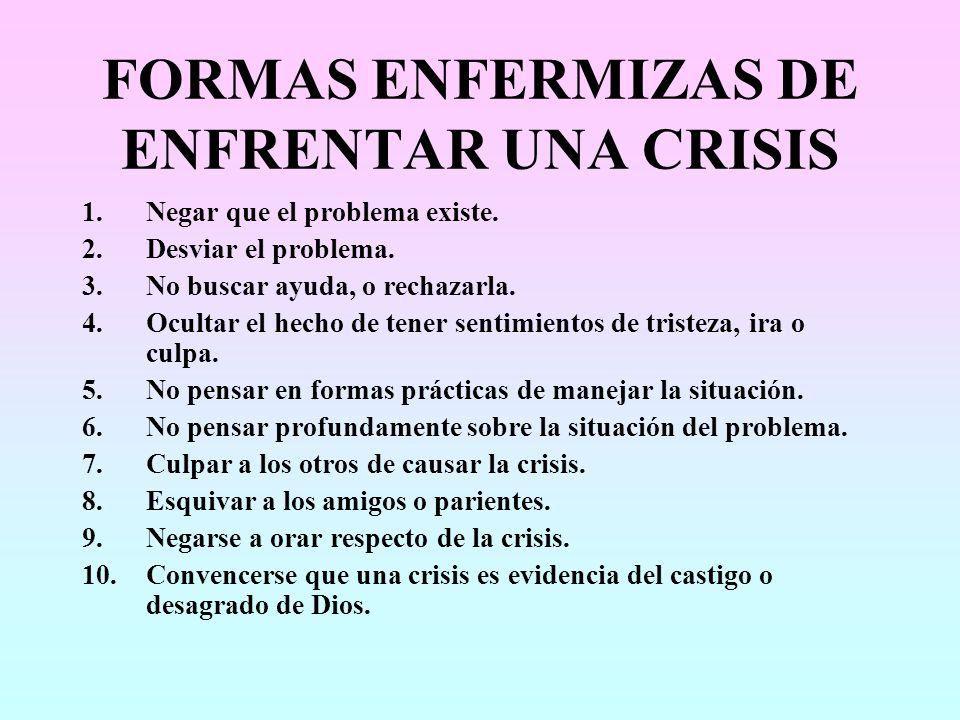 FORMAS ENFERMIZAS DE ENFRENTAR UNA CRISIS 1.Negar que el problema existe. 2.Desviar el problema. 3.No buscar ayuda, o rechazarla. 4.Ocultar el hecho d