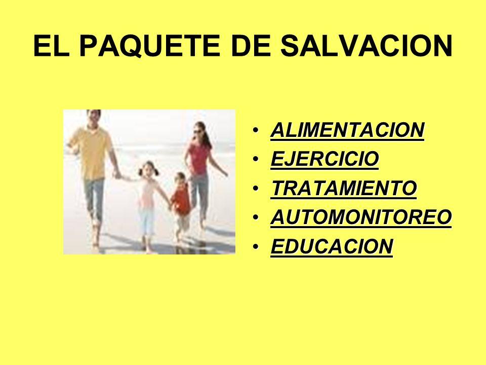 EL PAQUETE DE SALVACION ALIMENTACION EJERCICIO TRATAMIENTO AUTOMONITOREO EDUCACION