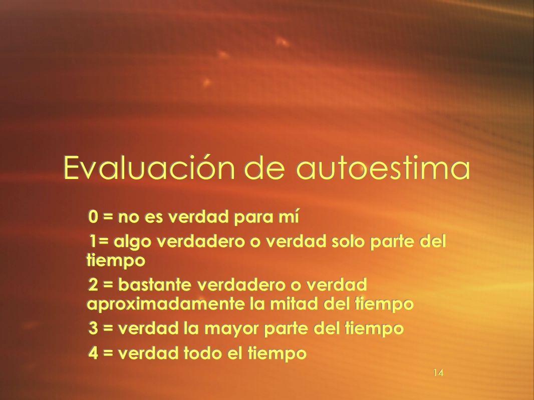 14 Evaluación de autoestima 0 = no es verdad para mí 1= algo verdadero o verdad solo parte del tiempo 2 = bastante verdadero o verdad aproximadamente