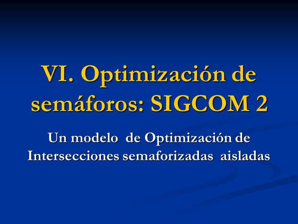 6.5 Optimización 6.5.2 Restricciones Ciclo máximo o fijo: Ciclo máximo o fijo: Verde mínimo: Verde mínimo: si se optimiza con ciclo máximo.