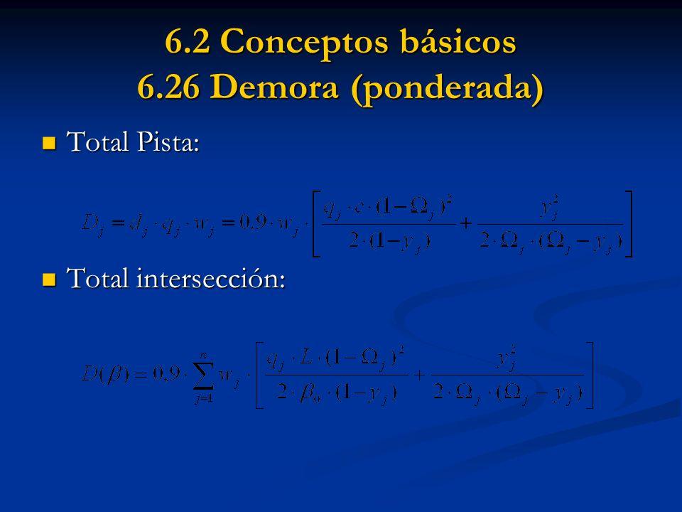 6.2 Conceptos básicos 6.26 Demora (ponderada) Total Pista: Total Pista: Total intersección: Total intersección: