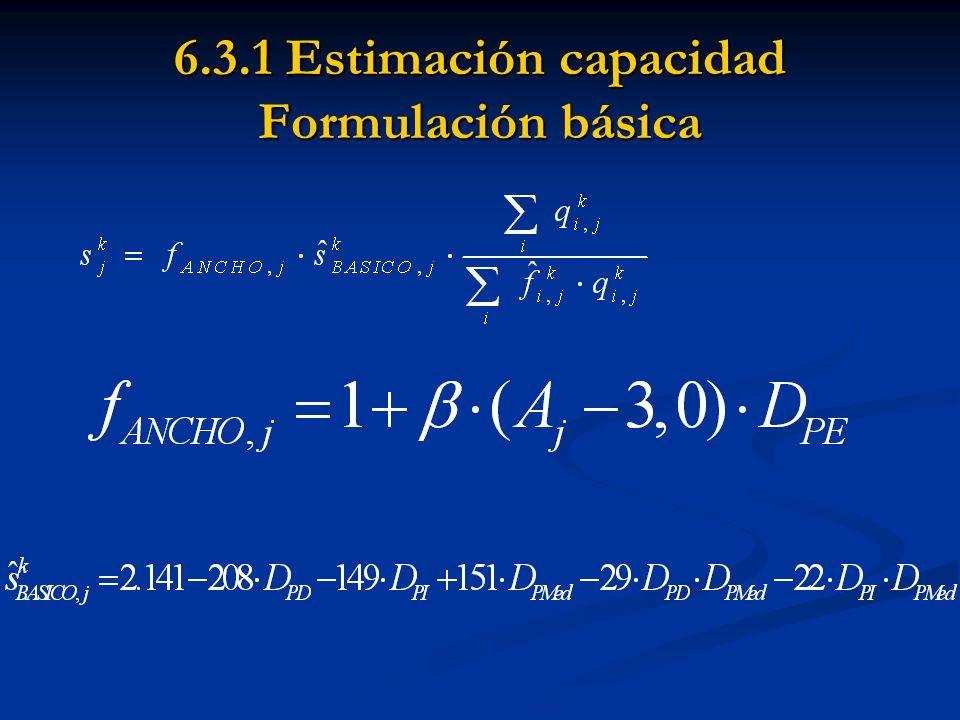 6.3.1 Estimación capacidad Formulación básica