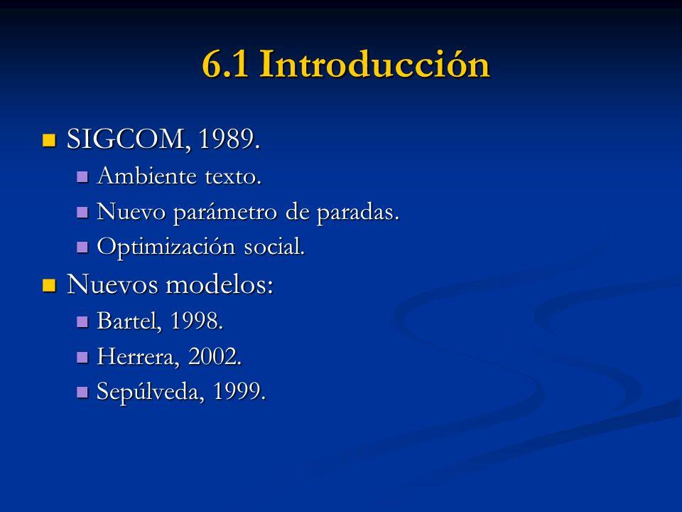 6.1 Introducción 6.1 Introducción SIGCOM, 1989. SIGCOM, 1989. Ambiente texto. Ambiente texto. Nuevo parámetro de paradas. Nuevo parámetro de paradas.