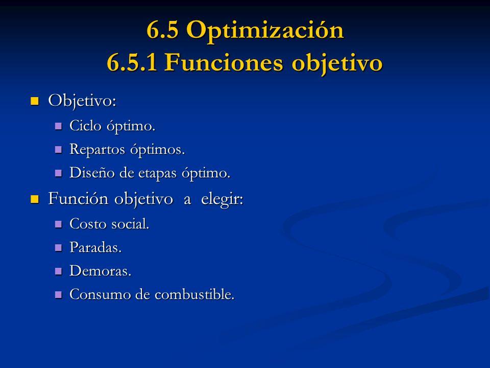 6.5 Optimización 6.5.1 Funciones objetivo Objetivo: Objetivo: Ciclo óptimo. Ciclo óptimo. Repartos óptimos. Repartos óptimos. Diseño de etapas óptimo.