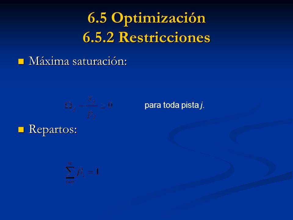 6.5 Optimización 6.5.2 Restricciones Máxima saturación: Máxima saturación: Repartos: Repartos: para toda pista j.