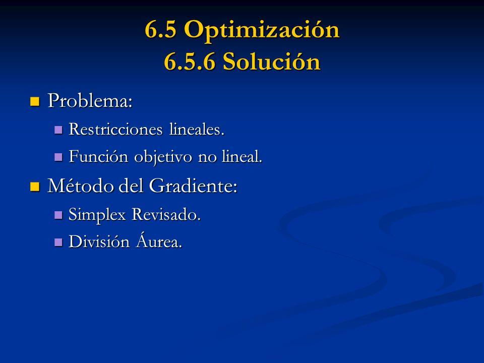 6.5 Optimización 6.5.6 Solución Problema: Problema: Restricciones lineales. Restricciones lineales. Función objetivo no lineal. Función objetivo no li