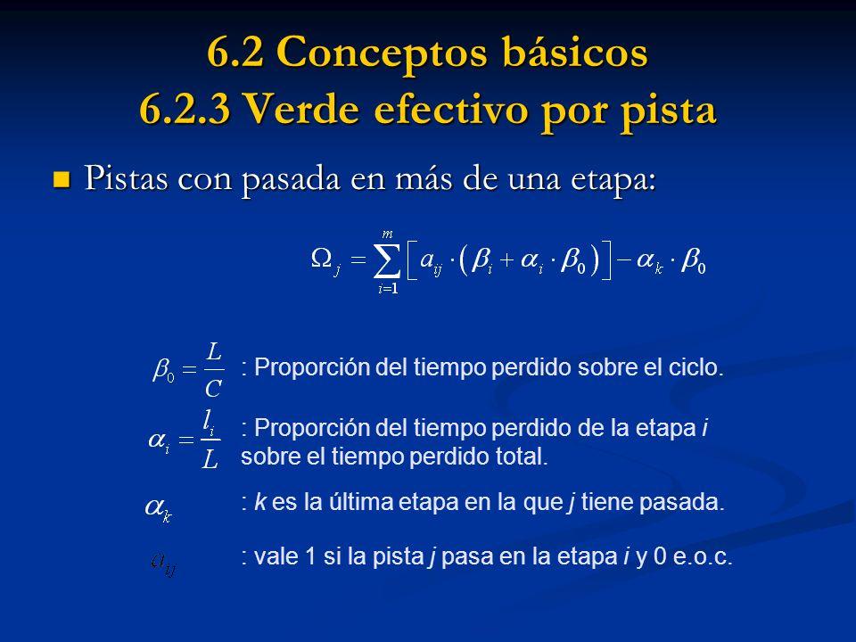 6.2 Conceptos básicos 6.2.3 Verde efectivo por pista Pistas con pasada en más de una etapa: Pistas con pasada en más de una etapa: : Proporción del ti