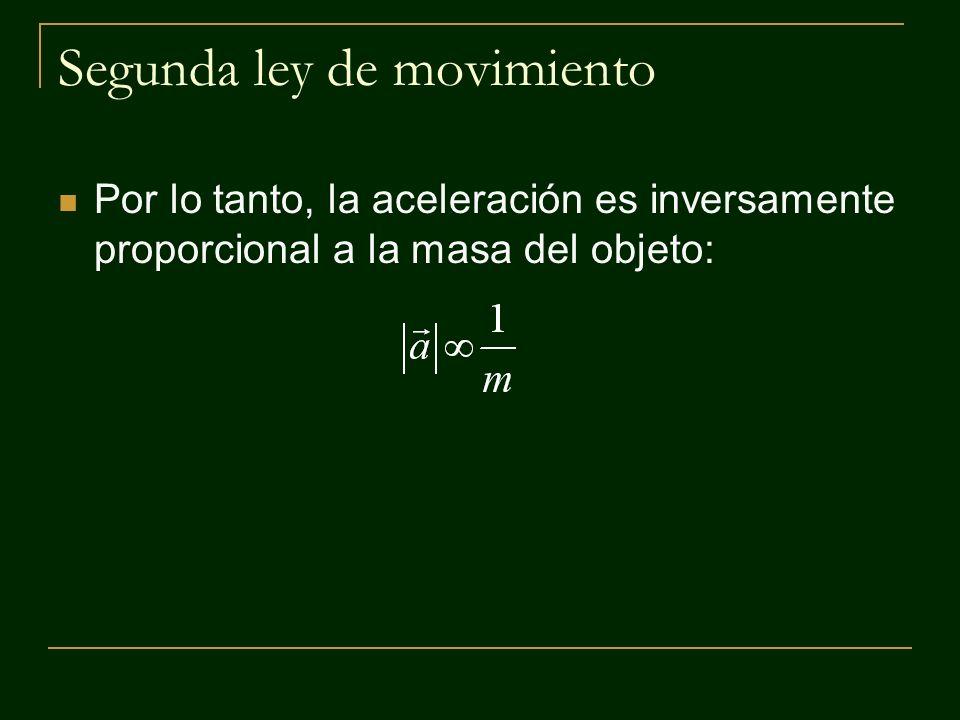 Segunda ley de movimiento Por lo tanto, la aceleración es inversamente proporcional a la masa del objeto: