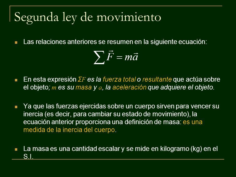 Segunda ley de movimiento Las relaciones anteriores se resumen en la siguiente ecuación: En esta expresión Σ F es la fuerza total o resultante que act