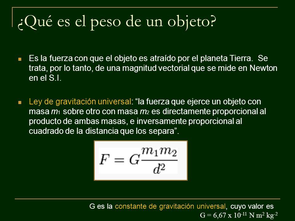¿Qué es el peso de un objeto? Es la fuerza con que el objeto es atraído por el planeta Tierra. Se trata, por lo tanto, de una magnitud vectorial que s