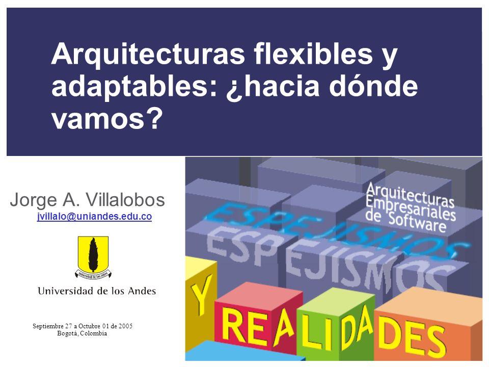 XXV Salón de Informática Arquitecturas Empresariales de Software Septiembre 28-Octubre 01 de 2005 32 Agenda + Evolución = mantenimiento + Arquitecturas flexibles + Adaptación + Aplicaciones dinámicas + Auto-adaptación + Integración y evolución + Conclusiones
