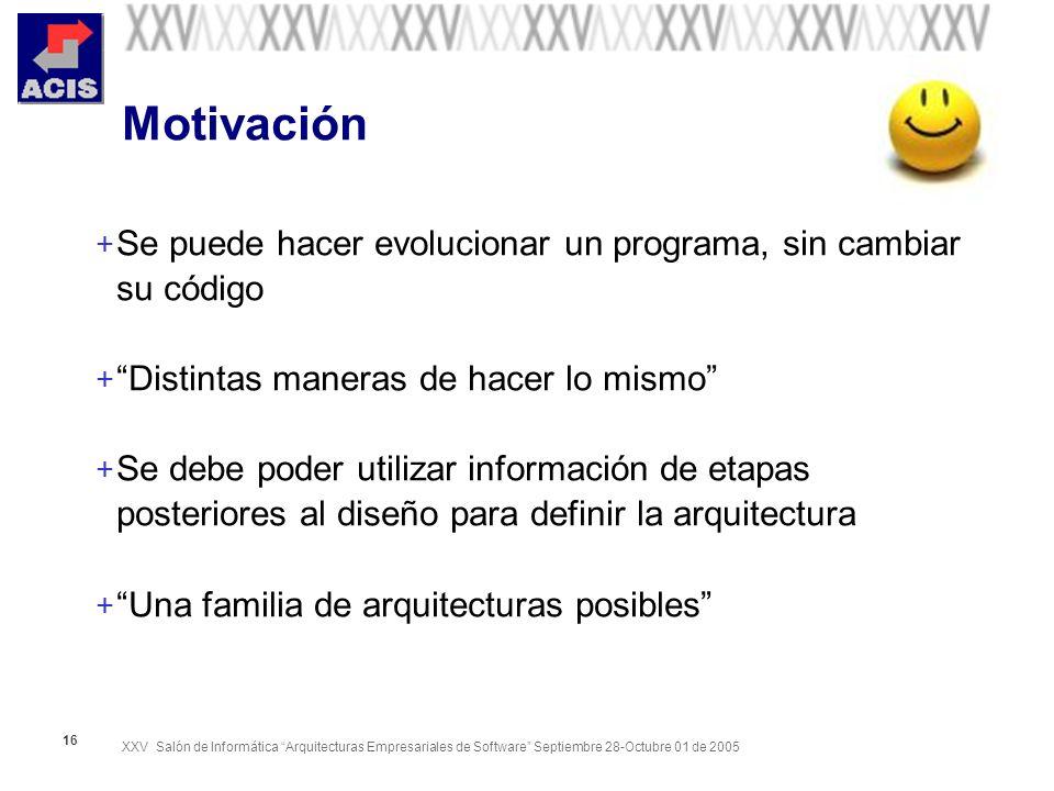 XXV Salón de Informática Arquitecturas Empresariales de Software Septiembre 28-Octubre 01 de 2005 16 Motivación + Se puede hacer evolucionar un programa, sin cambiar su código + Distintas maneras de hacer lo mismo + Se debe poder utilizar información de etapas posteriores al diseño para definir la arquitectura + Una familia de arquitecturas posibles