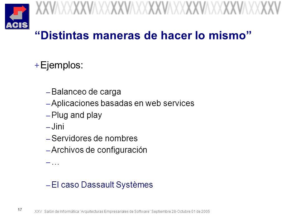 XXV Salón de Informática Arquitecturas Empresariales de Software Septiembre 28-Octubre 01 de 2005 17 Distintas maneras de hacer lo mismo + Ejemplos: –