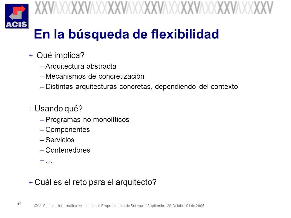 XXV Salón de Informática Arquitecturas Empresariales de Software Septiembre 28-Octubre 01 de 2005 19 En la búsqueda de flexibilidad + Qué implica.