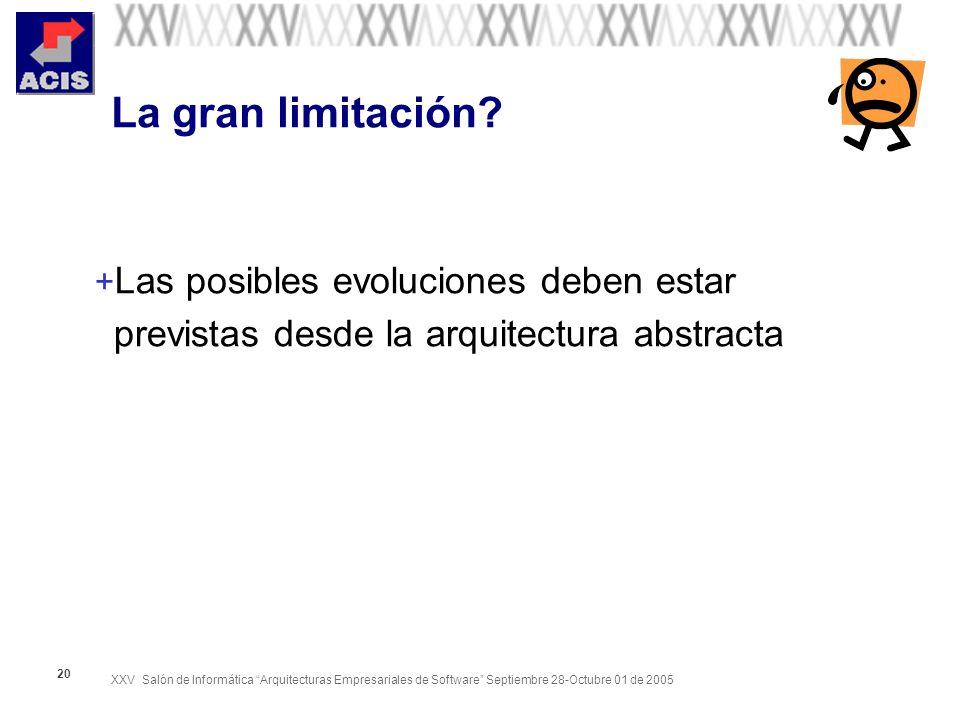XXV Salón de Informática Arquitecturas Empresariales de Software Septiembre 28-Octubre 01 de 2005 20 La gran limitación? + Las posibles evoluciones de