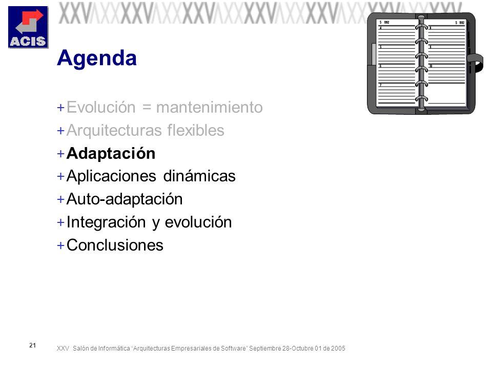 XXV Salón de Informática Arquitecturas Empresariales de Software Septiembre 28-Octubre 01 de 2005 21 Agenda + Evolución = mantenimiento + Arquitecturas flexibles + Adaptación + Aplicaciones dinámicas + Auto-adaptación + Integración y evolución + Conclusiones