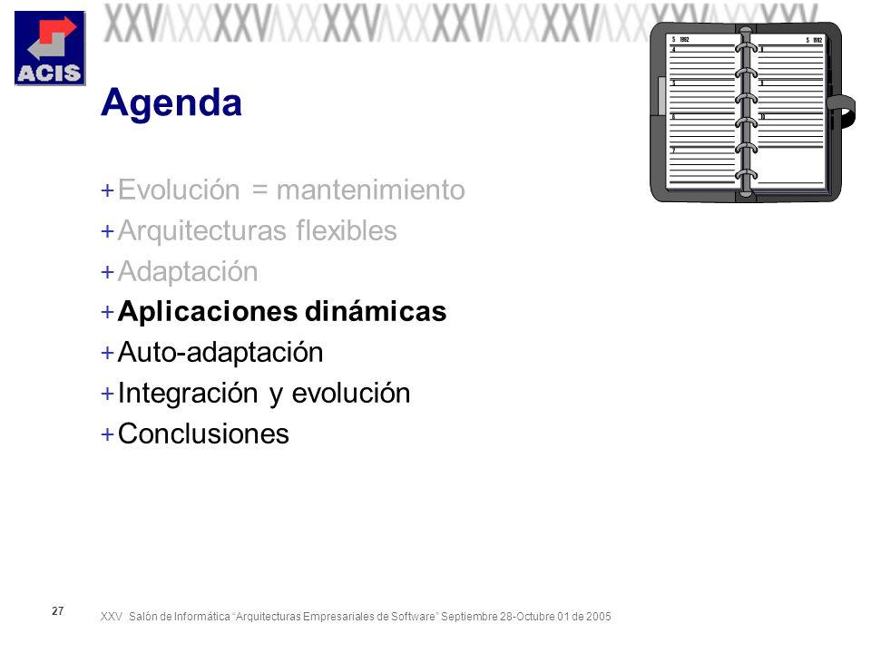 XXV Salón de Informática Arquitecturas Empresariales de Software Septiembre 28-Octubre 01 de 2005 27 Agenda + Evolución = mantenimiento + Arquitecturas flexibles + Adaptación + Aplicaciones dinámicas + Auto-adaptación + Integración y evolución + Conclusiones