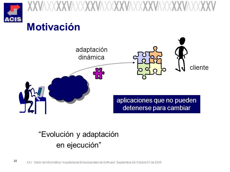 XXV Salón de Informática Arquitecturas Empresariales de Software Septiembre 28-Octubre 01 de 2005 28 Motivación cliente Evolución y adaptación en ejecución adaptación dinámica aplicaciones que no pueden detenerse para cambiar