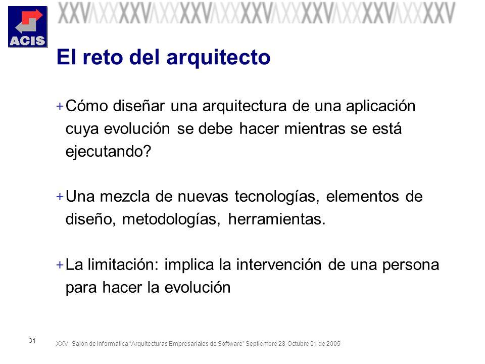 XXV Salón de Informática Arquitecturas Empresariales de Software Septiembre 28-Octubre 01 de 2005 31 El reto del arquitecto + Cómo diseñar una arquitectura de una aplicación cuya evolución se debe hacer mientras se está ejecutando.